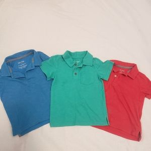 Okie Dokie 2T Boys Collard shirts. Red Green Blue